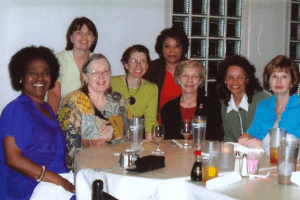 Evelyn with nurses and researchers in the 1990s.