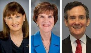 Headshots of three new board members