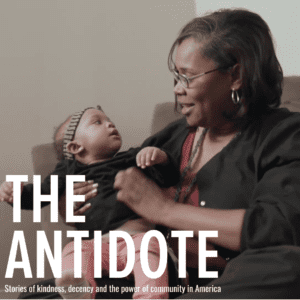 Nurse and baby with The Antidote printed across photo