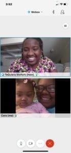 Cora and daughter video conferencing nurse TeQuiera